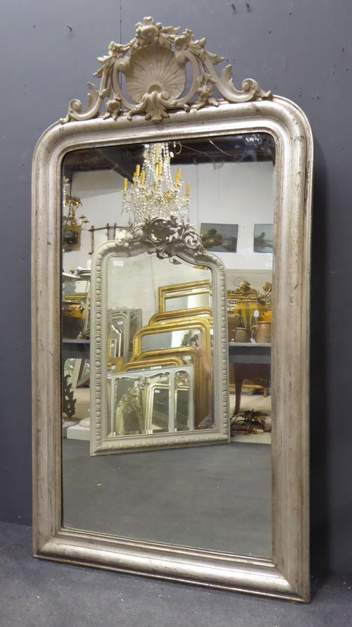 large silver louis philippe crested antique french mirror