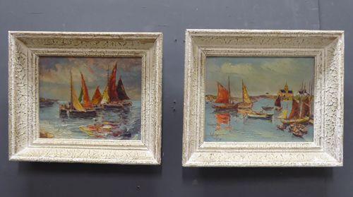pair of gouache marine landscapes in original frames