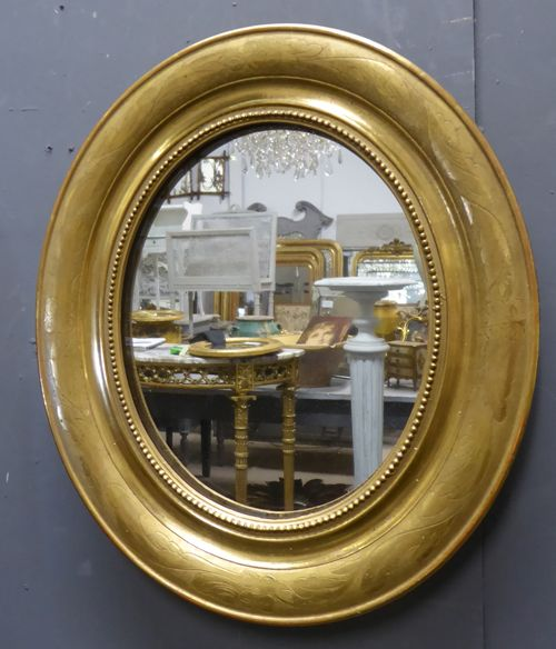 louis philippe gilt oval antique french mirror