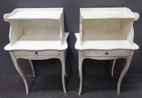 pair of painted antique french bedside cabinets