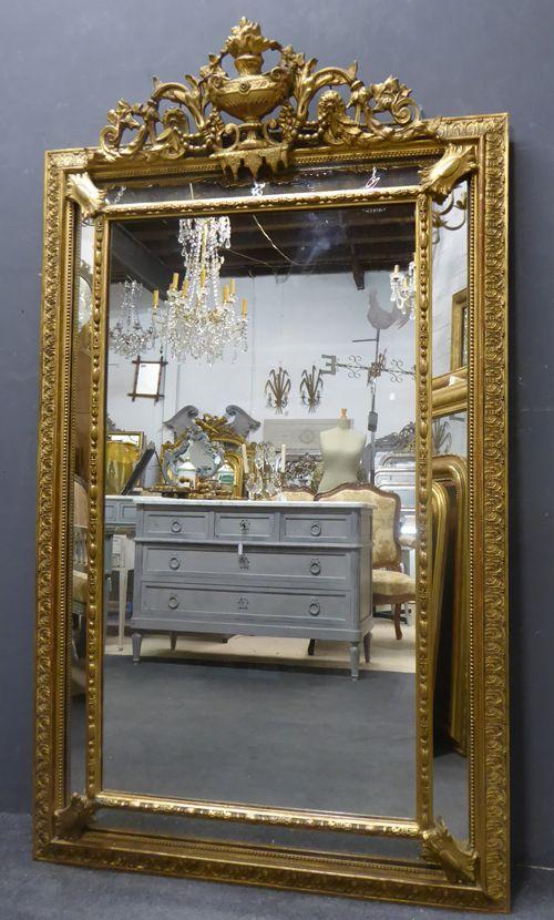 large gilt napoleon iii antique french crested cushion margin mirror