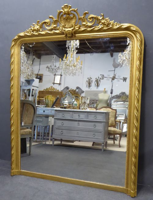 large wide gilt crested antique french mirror