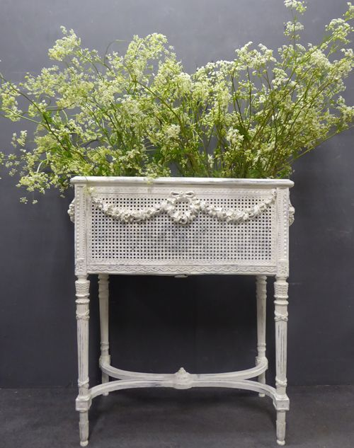 large antique french painted jardiniere stand