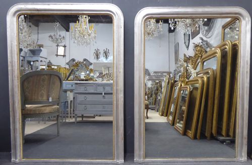 harlequin pair of large silver louis philippe antique french mirrors