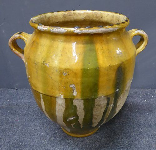 large 19th century antique french yellow glazed terracotta confit pot