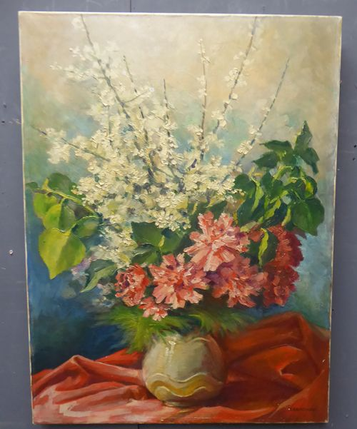 french gouache on canvas flower still life painting