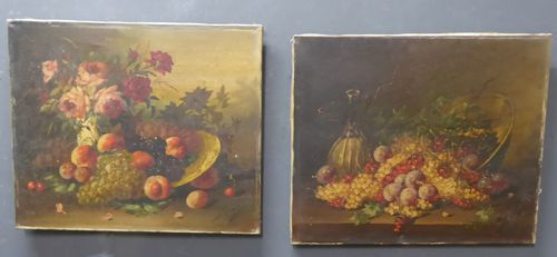 pair of antique french still life oil on canvas paintings