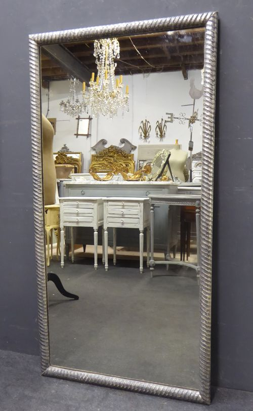 19th century antique french silver ripple mirror