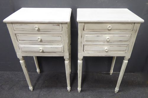 pair of antique french painted bedside cabinets