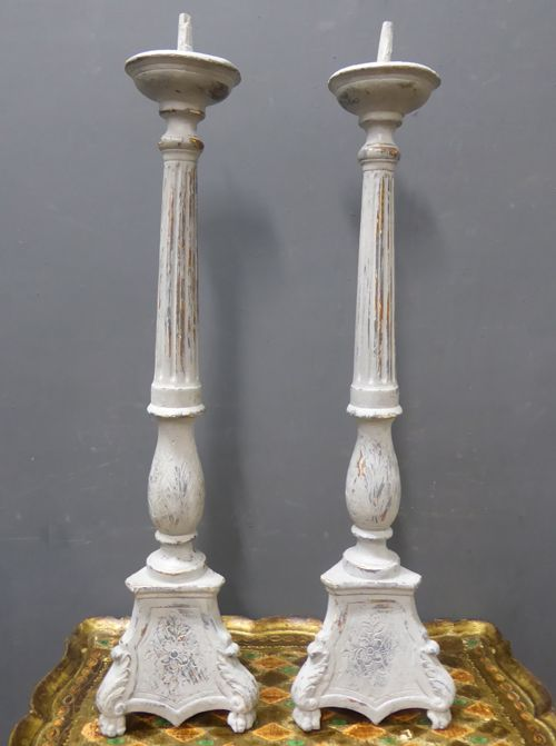 pair of large 19th century painted carved wood candlesticks
