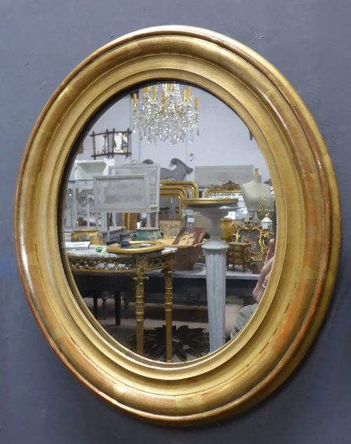 small gilt louis philippe oval antique french mirror