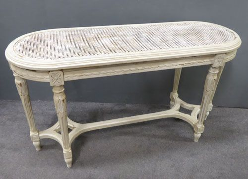 painted carved wood antique french bench with cane top
