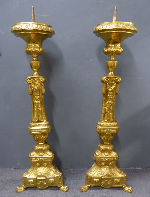 pair of decorative large 19th century gilt metal pricket candlesticks