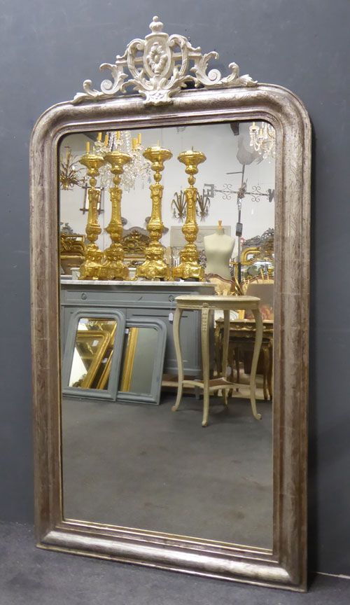 silver louis philippe crested antique french mirror