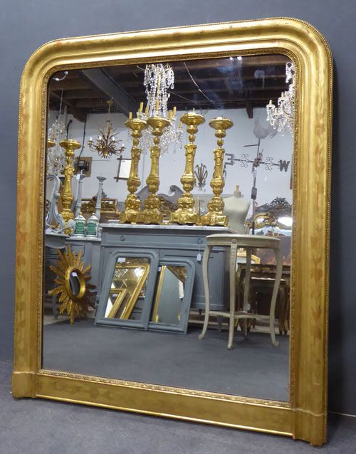 large wide antique french louis philippe overmantle mirror