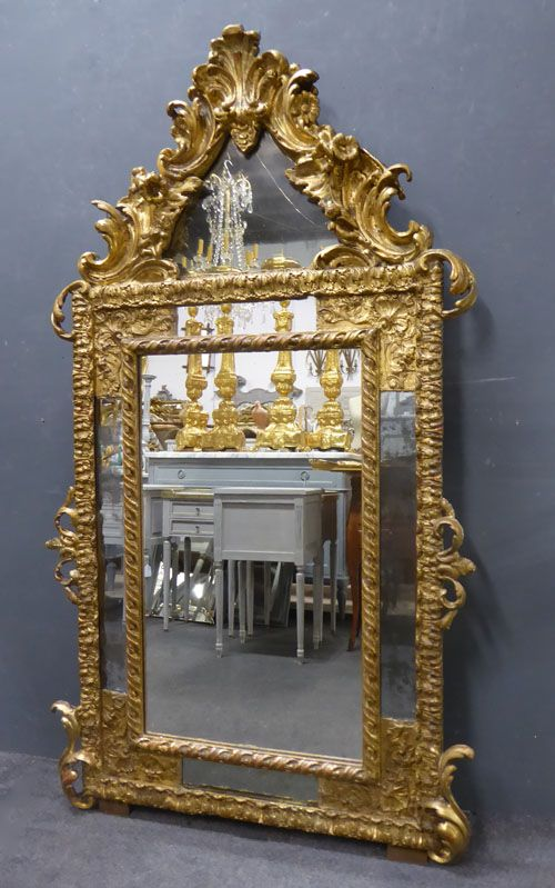 antique french napoleon i period crested gilt margin mirror