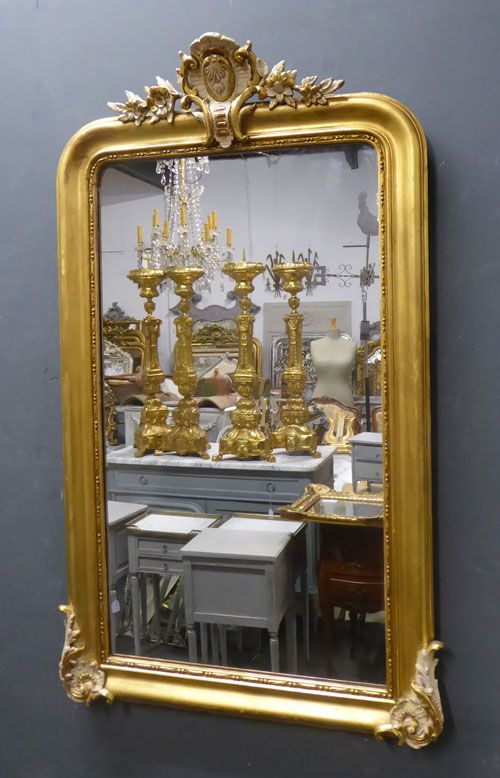 period gilt crested louis philippe antique french mirror