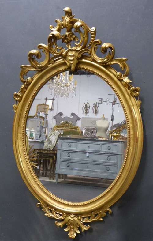 large gilt crested louis philippe oval antique french mirror circa 1840
