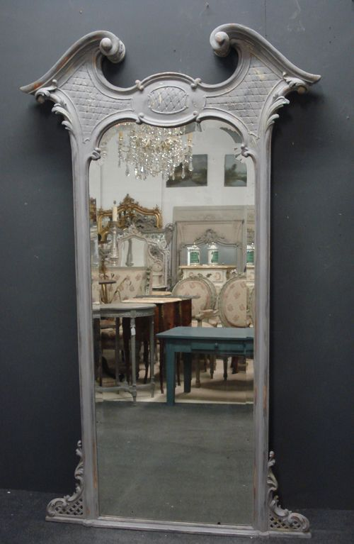large italian painted carved wood antique mirror circa 1890