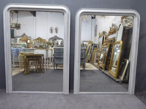 harlequin pair of large painted louis philippe antique french mirrors