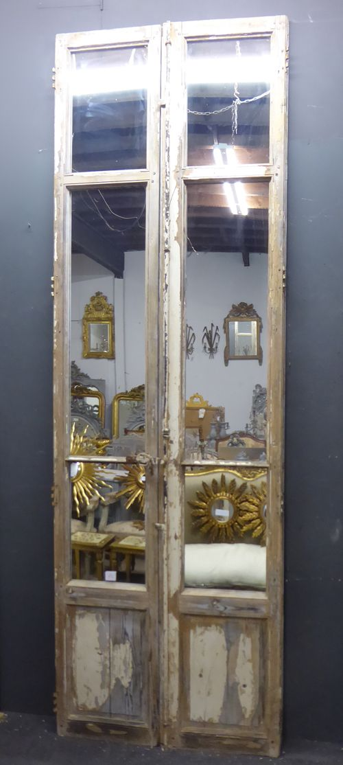pair of large 19th century mirror glazed antique french doors