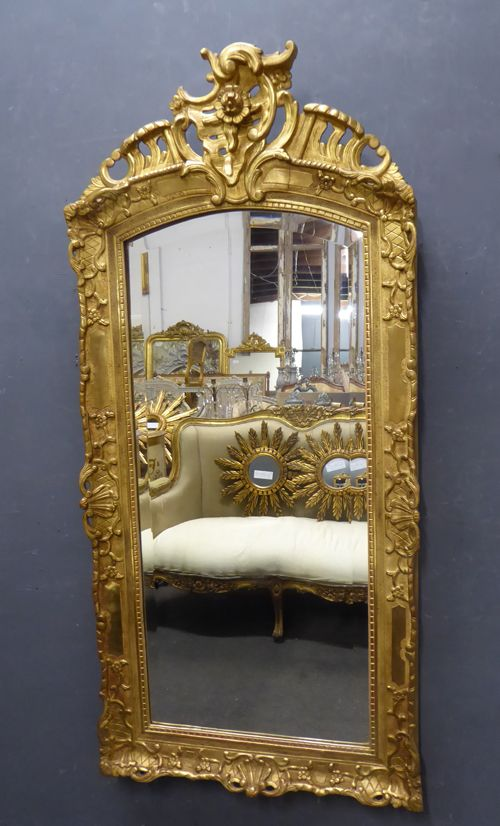 carved giltwood crested antique french mirror c1890