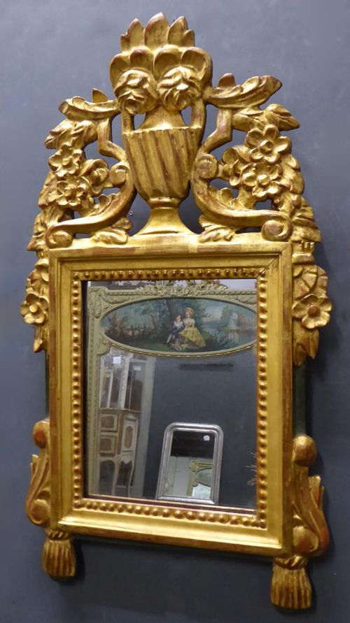 small antique french carved giltwood crested mirror