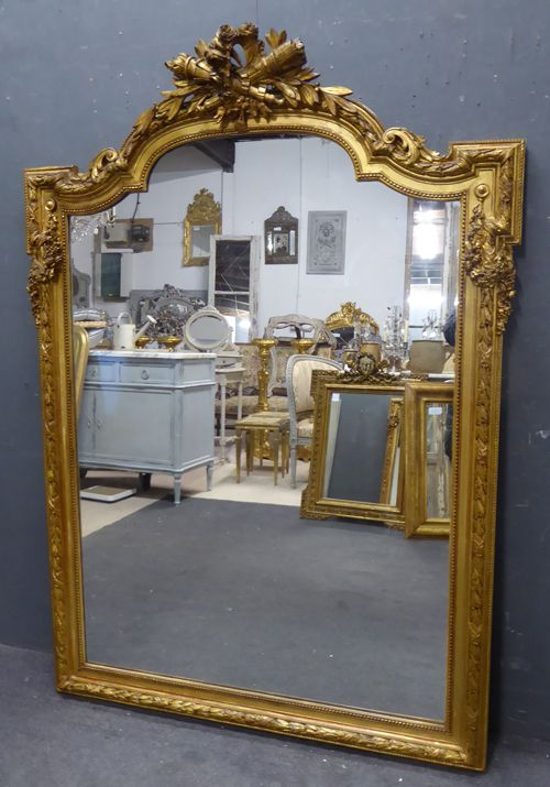 large antique french gilt crested mirror