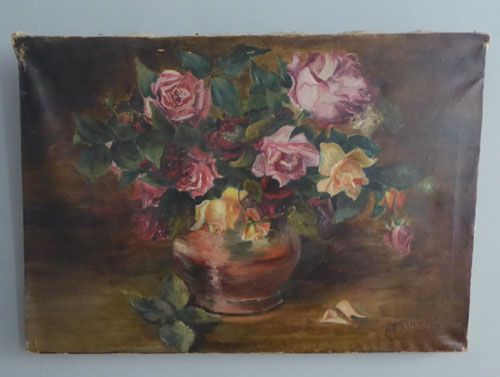 antique french oil on canvas still life painting of roses dated 1916