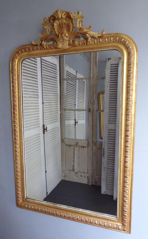 antique french gesso gilt crested mirror c1870