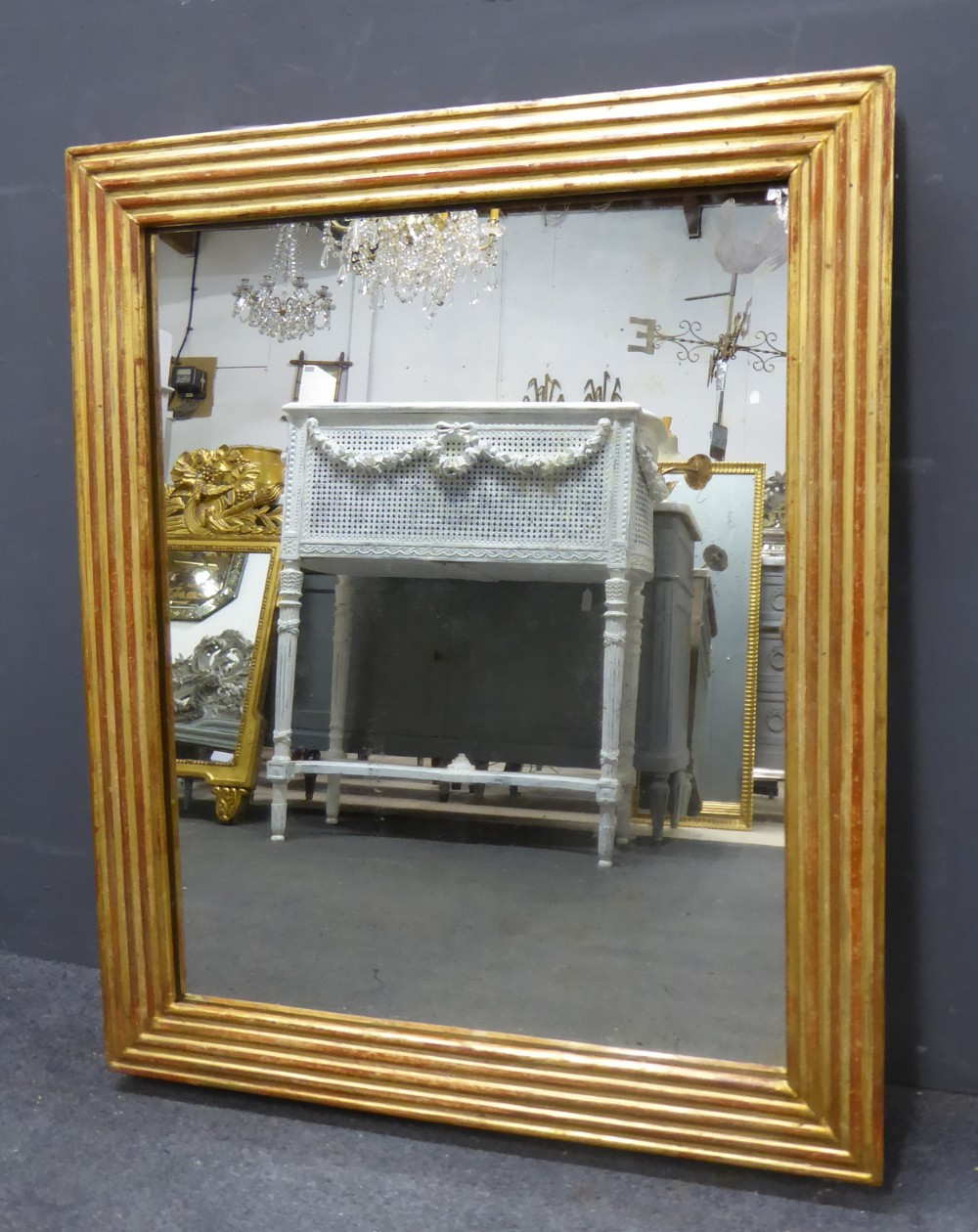 gilt louis xvi reeded antique french mirror circa 1820