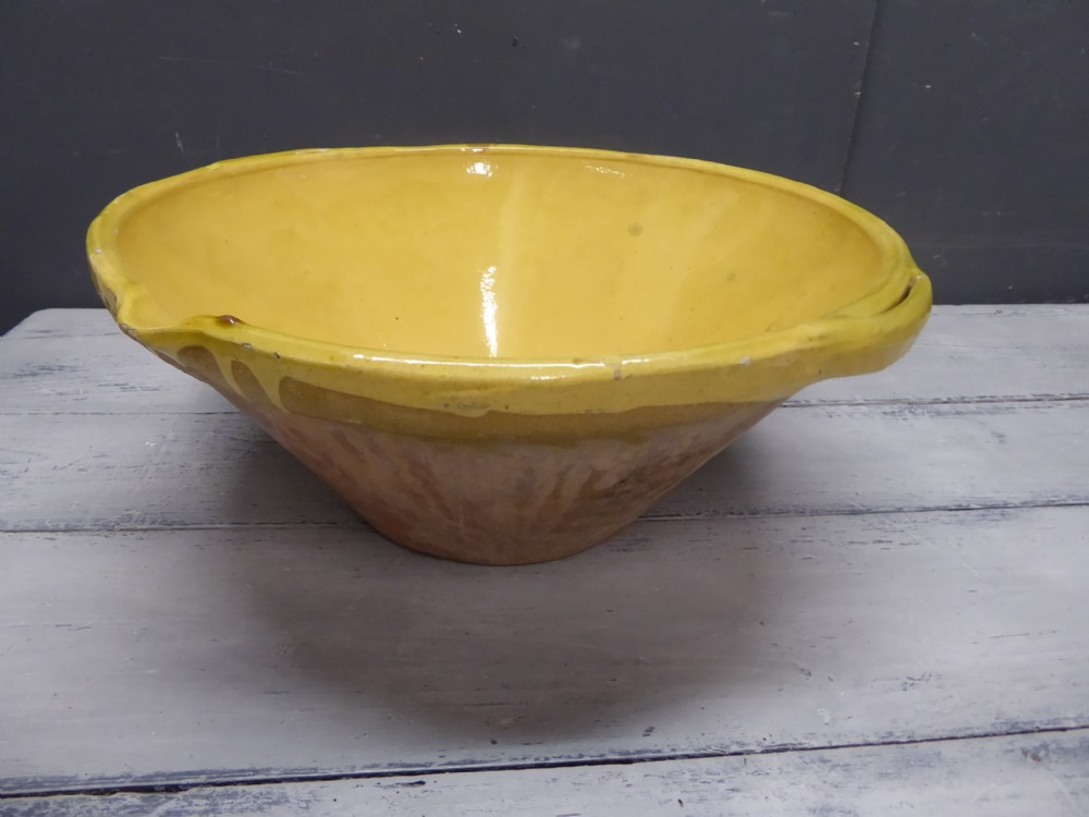 large 19th century antique french provencal tian bowl