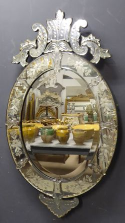 Pair Of Antique French Mirrors Pair Of Gilt Oval Mirrors