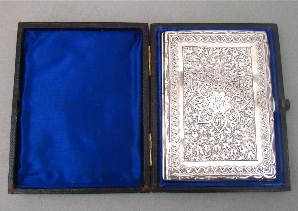 stunning victorian silver card case aide memoire by frederick marson birmingham 1881