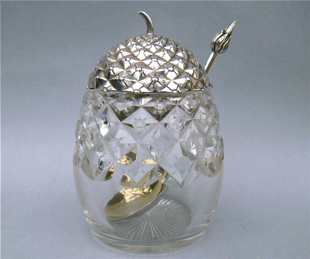 exceptional victorian silver cut glass pineapple preserve jar with matching spoon by henry wilkinson sheffield 1900