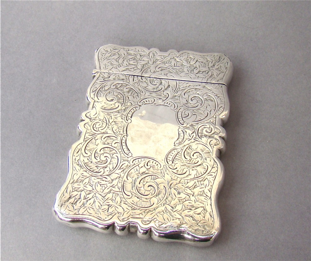 attractive victorian solid silver card case by george loveridge birmingham 1901