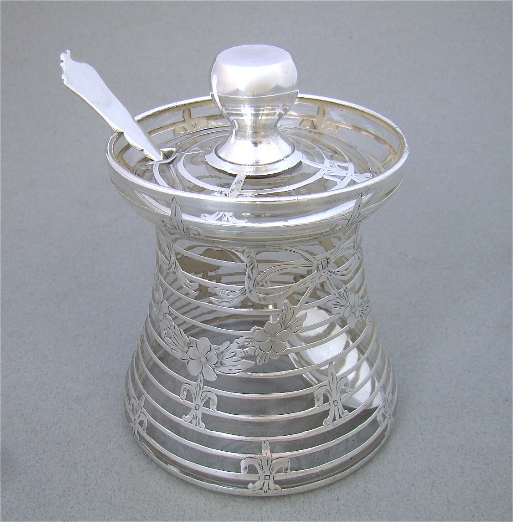 stunning edwardian overlay silver glass honey pot or preserve jar circa 1900