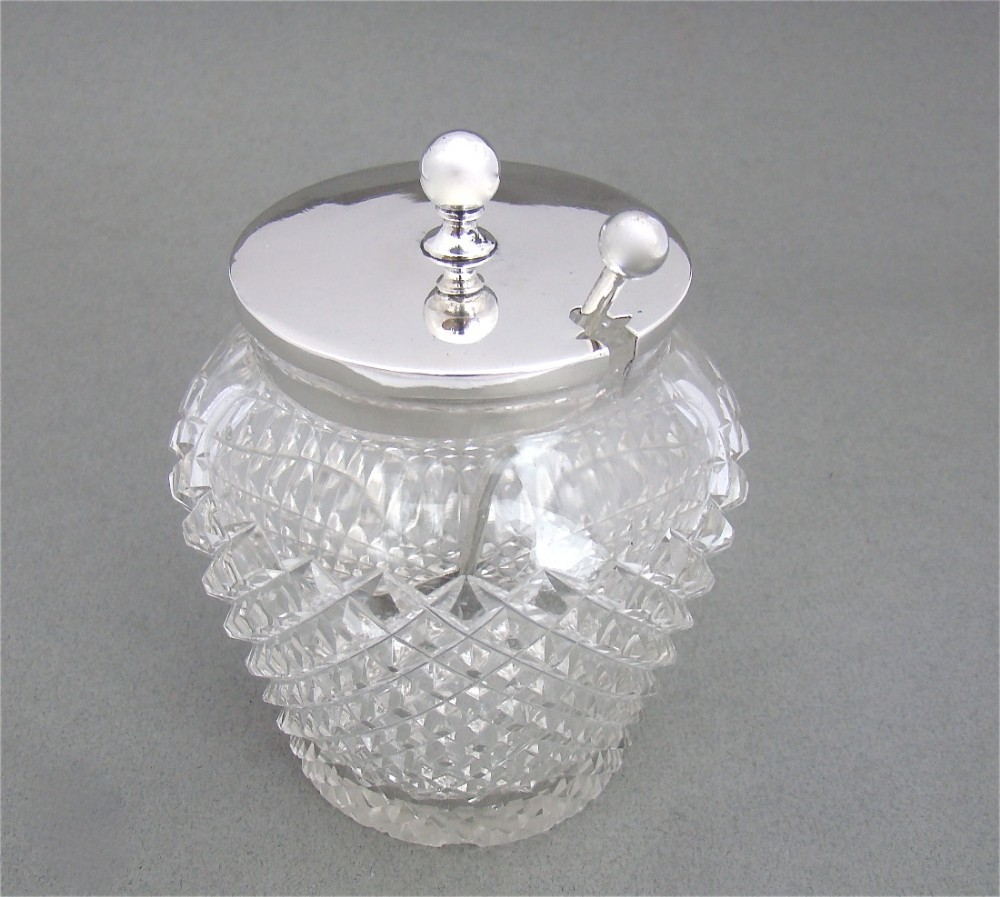 fabulous large size edwardian silver mounted preserve jar and spoon by j sherwood sons birmingham 1904