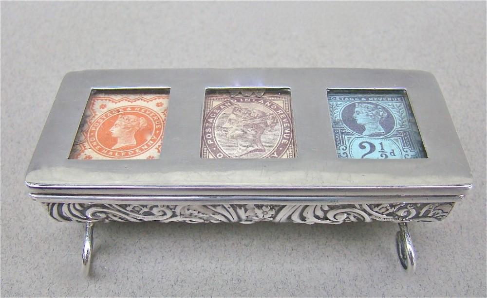 rare victorian silver triple stamp box by levi salaman birmingham 1897