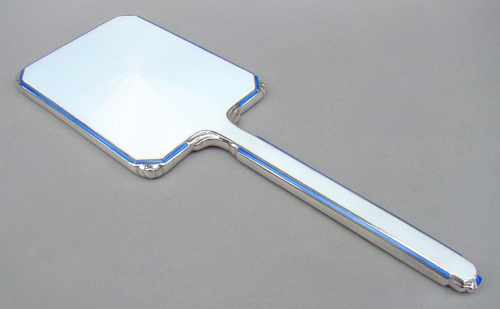 stunning art deco silver and dual colour guilloche enamel hand mirror by the adie brothers birmingham 1922