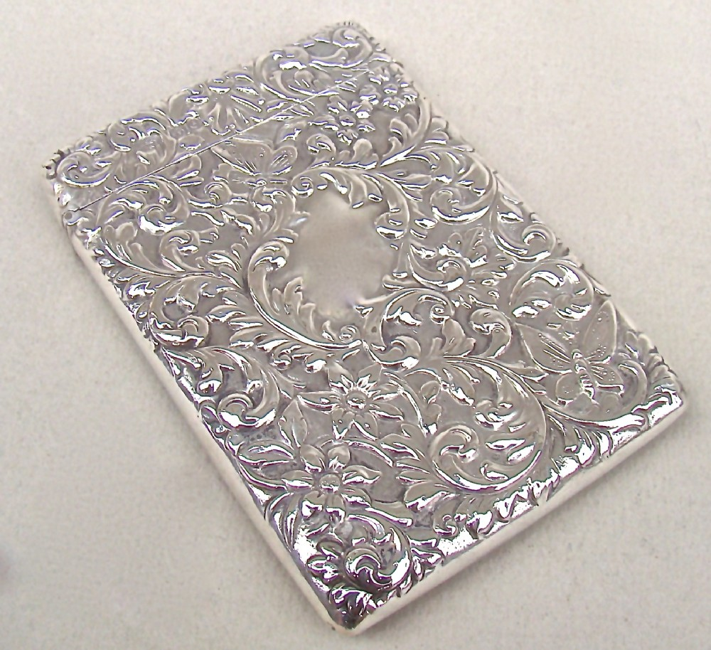 exquisite victorian solid silver card case by the goldsmiths silversmiths company london 1900