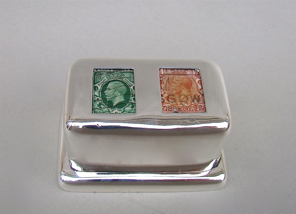 rare edwardian silver double stamp box by william hornby london 1903