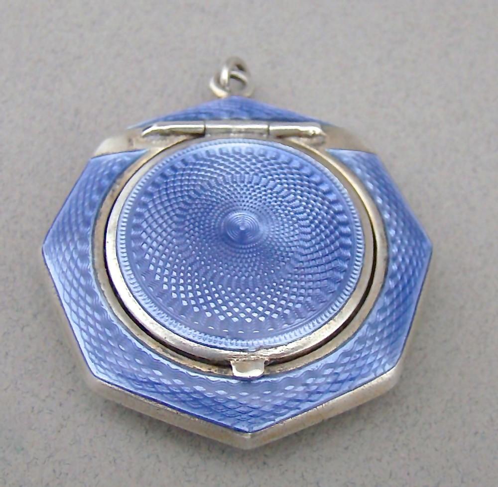 Fabulous Art Deco Silver Amp Guilloche Enamel Compact By