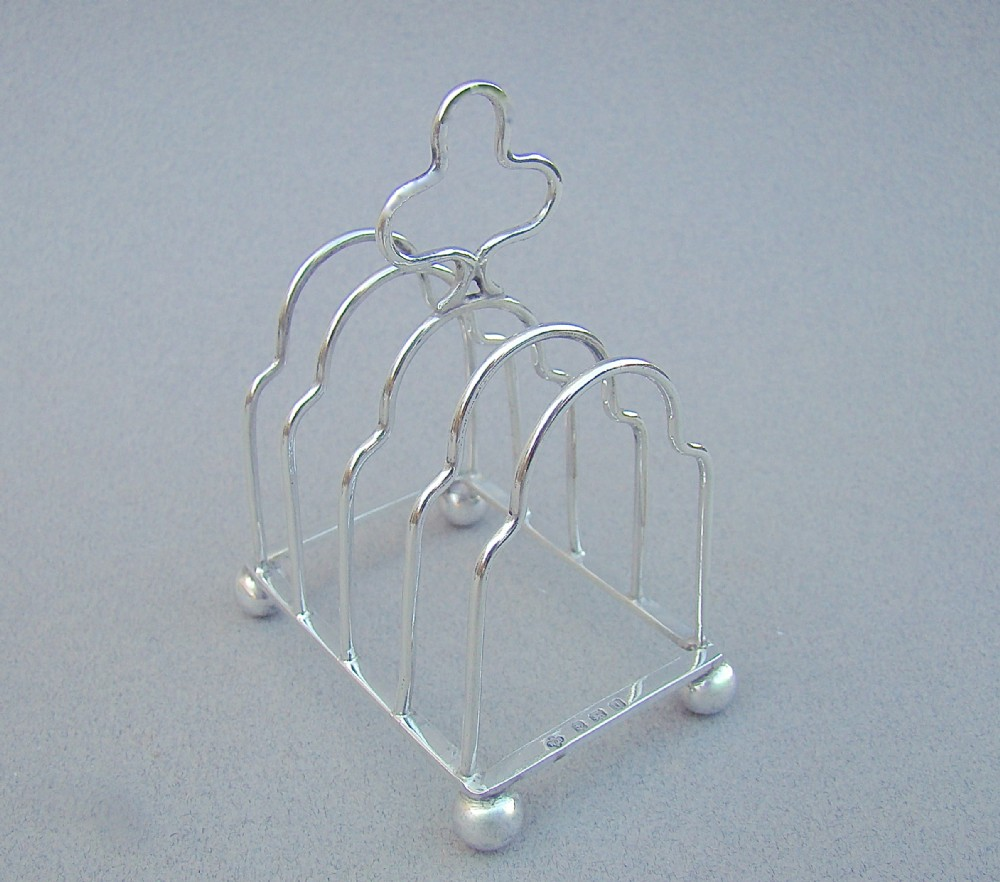 miniature novelty silver toast rack by william base birmingham 1919