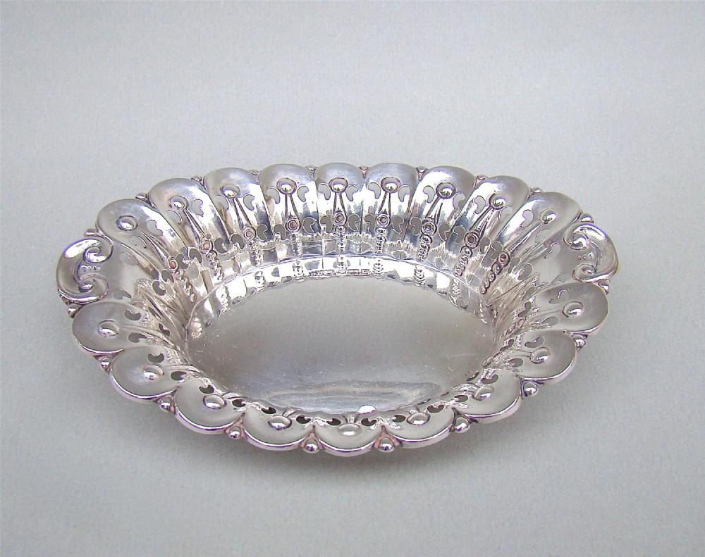 edwardian silver bonbon dish by james dixon sons sheffield 1906