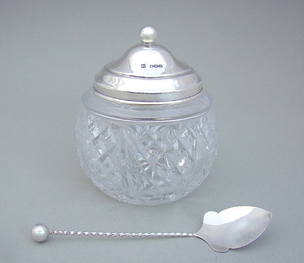 george v silver and hobnailcut glass preserve jar by james deakin sons sheffield 1929