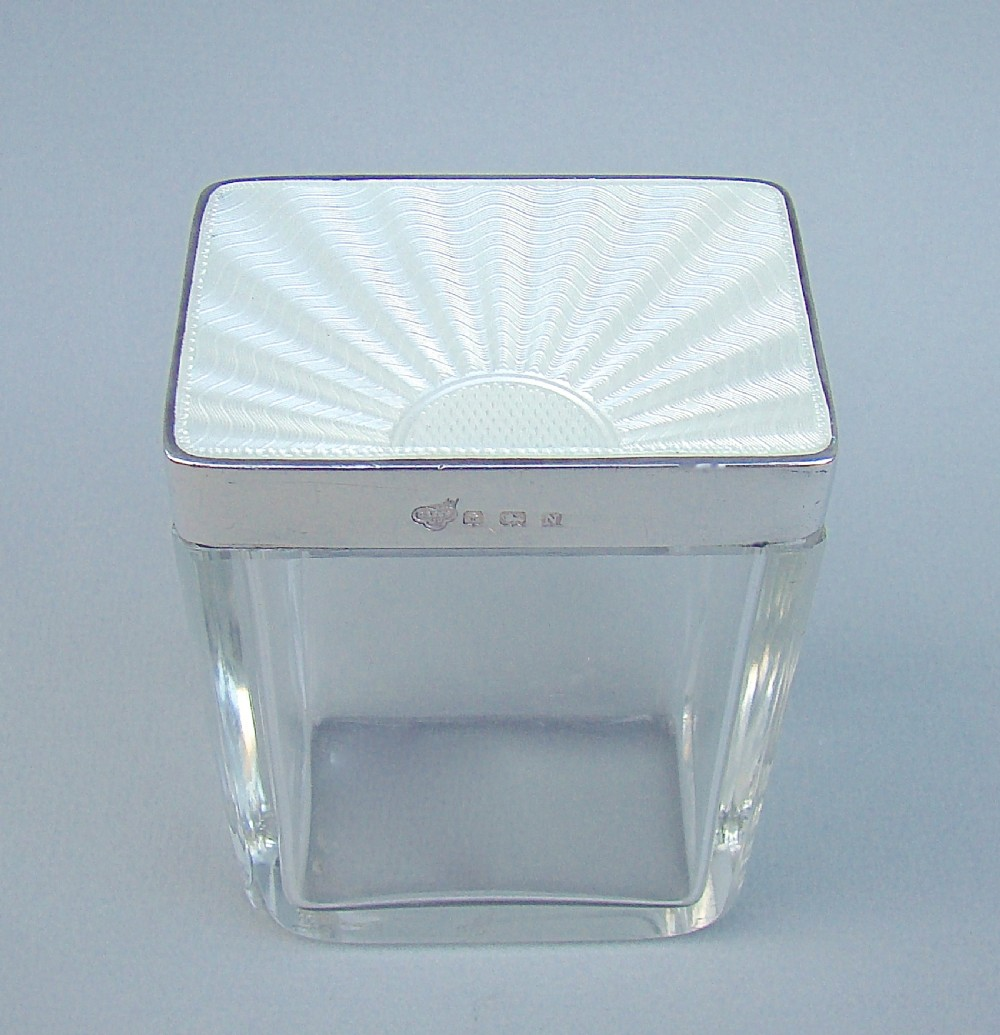 art deco silver and guilloche enamel dressing table jar by the goldsmiths silversmiths company birmingham 1937