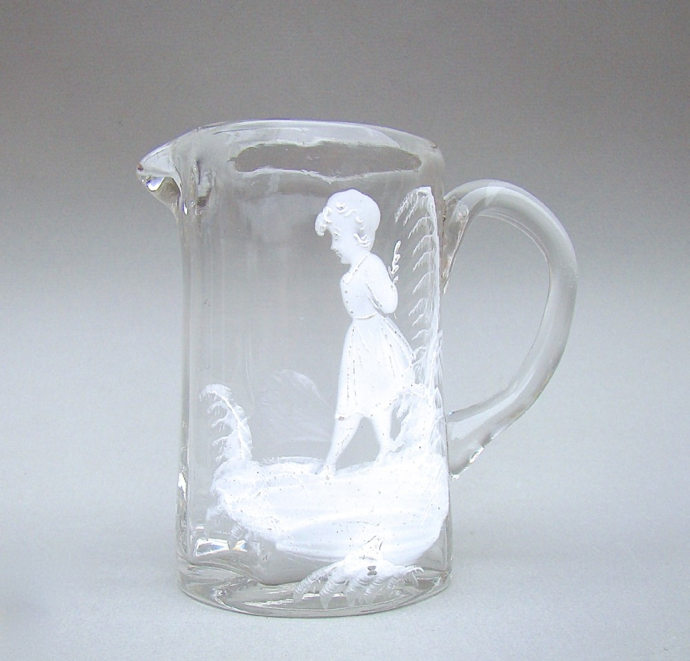 small victorian mary gregory glass cream jug circa 1890