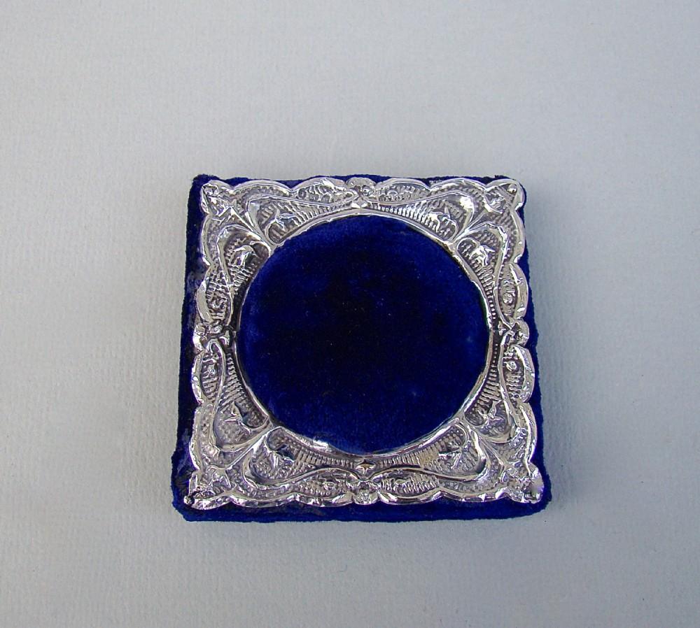 unusual edwardian silver mounted pin cushion by green cadbury ltd birmingham 1905