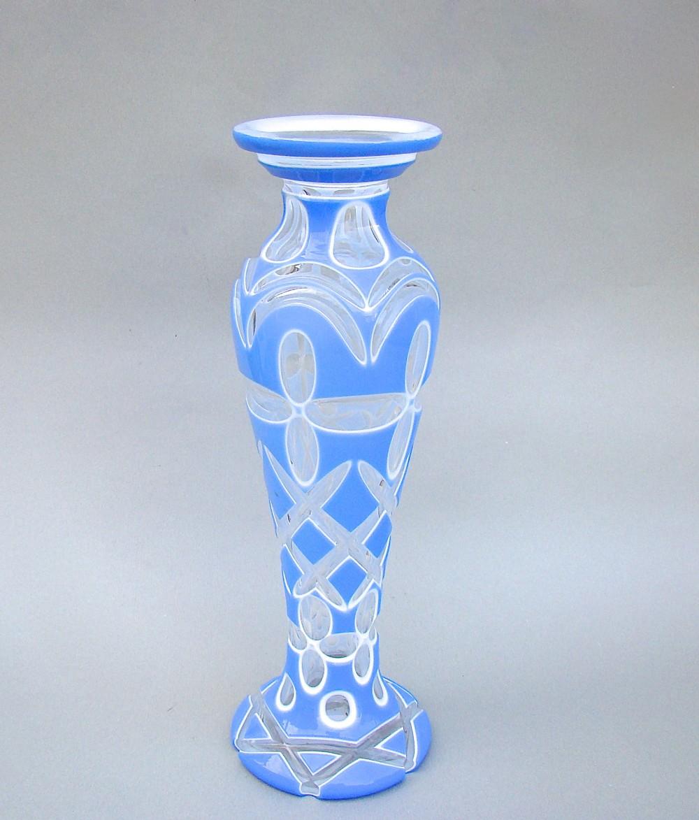 tall bohemian overlay glass baluster vase circa 1890
